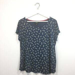 Tops - W5 L Large Shirt Blue Bicycle Print Short Sleeve